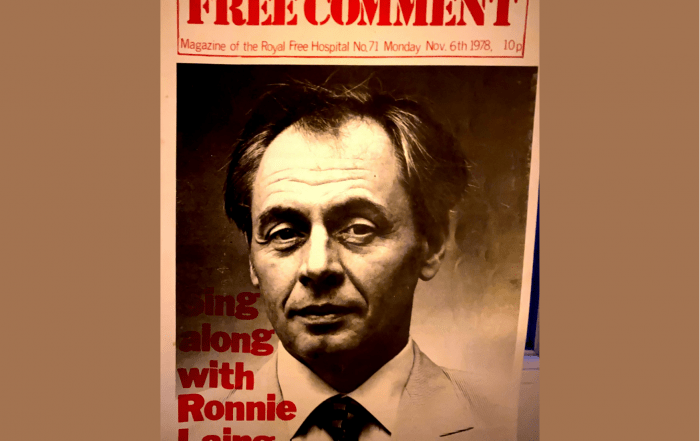 The front cover of the 'Free Comment' student magazine, featuring a picture of psychiatrist RD Laing. The title is 'Sing along with Ronnie Laing'.